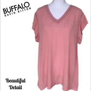 Buffalo David Bitton Pink Top with Woven Detail Lg